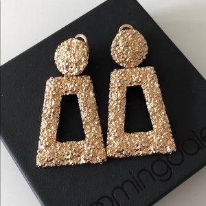 Zara textures gold drop earrings